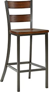 Home Styles Cabin Creek Chestnut Bar Stool with Carved Seat, Double Panel Back, Distressed Finish, Mahogany Veneer, and Engineered Wood Construction