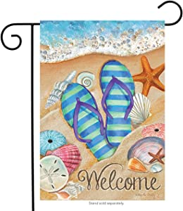 "Briarwood Lane Day in The Sun Beach Garden Flag Summer Flip Flops Shoreline 12.5"" x 18"""