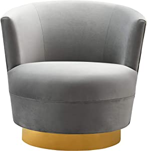 TOV Furniture The Noah Collection Modern Velvet Swivel Accent Chair, Gray