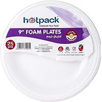 "Hotpack White foam plates 9""- 25 Pcs (6291101710255)"