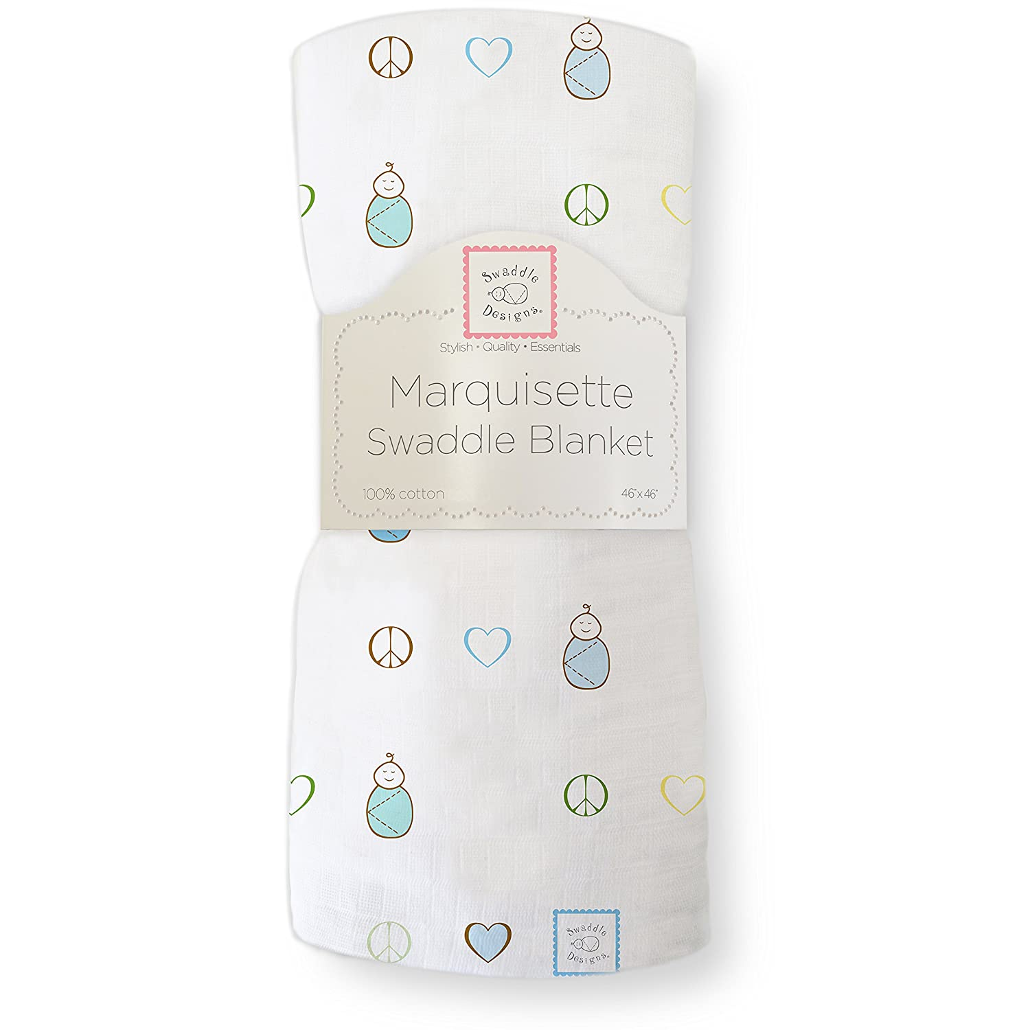SwaddleDesigns Marquisette Swaddling Blanket, Peace Love Swaddle, True Blue SD-132TB