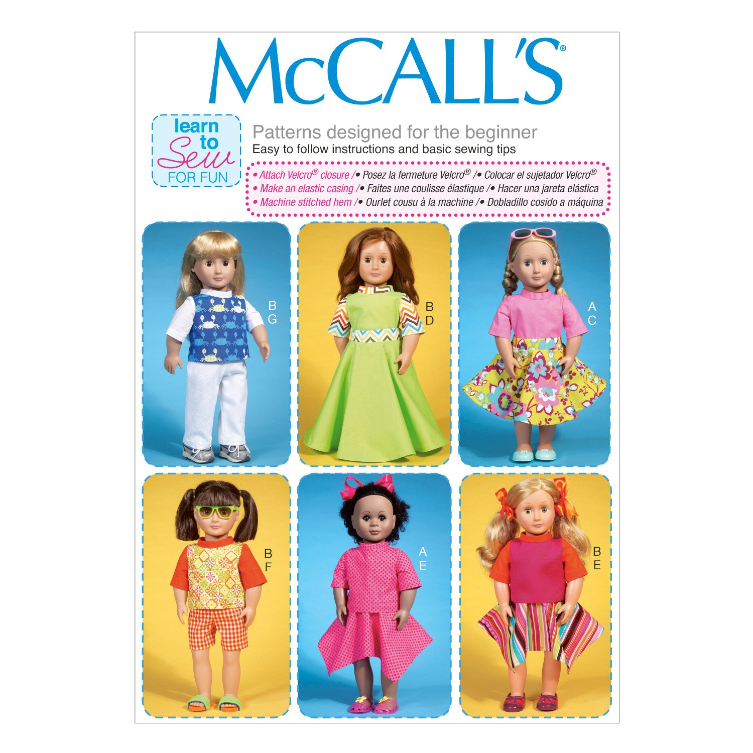 Amazon.com: McCall Pattern Company M7106 Clothes for 18-Inch Dolls, One Size Only: Home & Kitchen