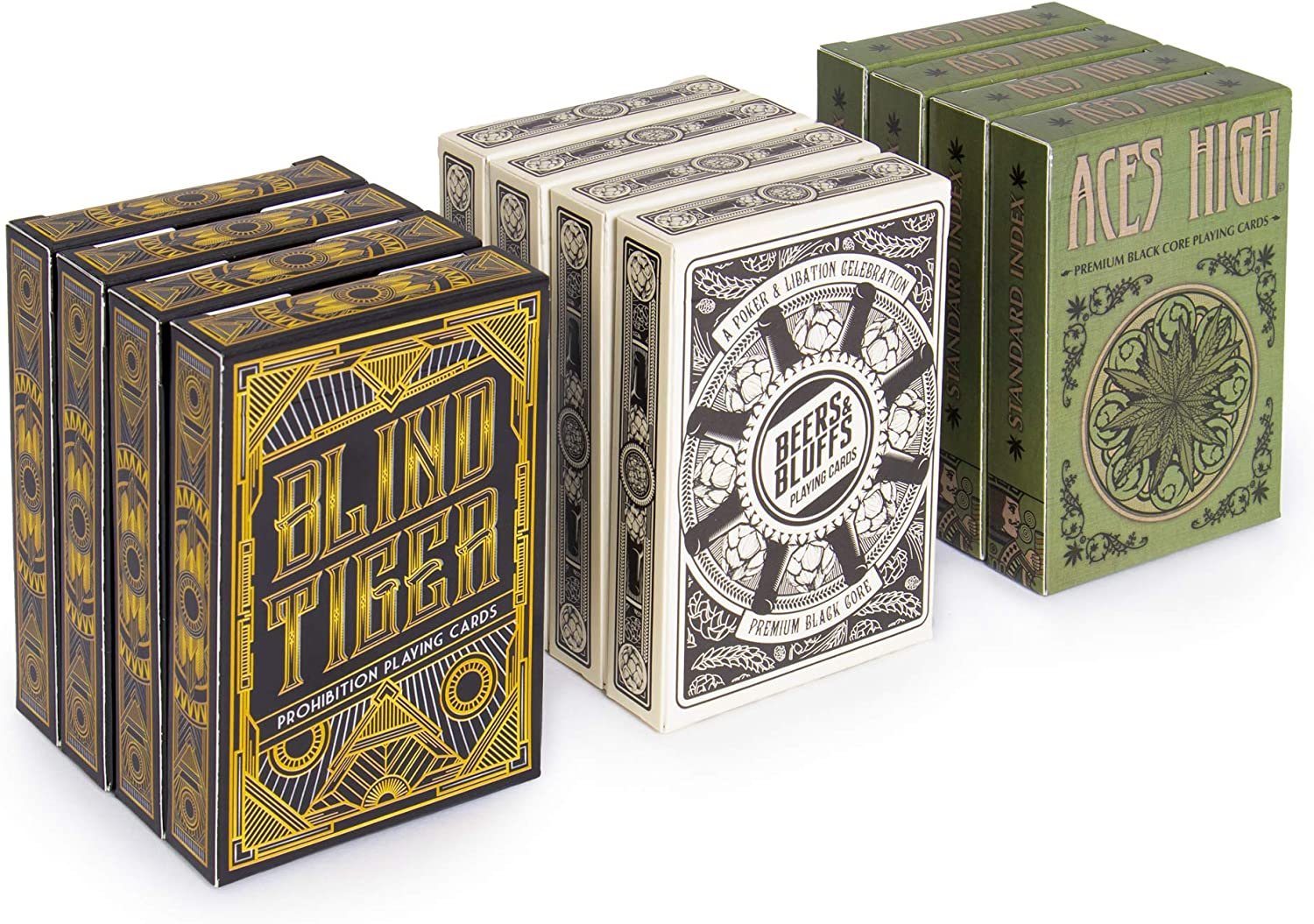 12 Decks Blind Tiger, Beers & Bluffs, and Aces High Card Decks (4/4/4 Split) | 310gsm Black Core Cardstock, Plastic-coated, Standard Index Poker Size | Casino-style Custom Card Gaming and Gift Decks