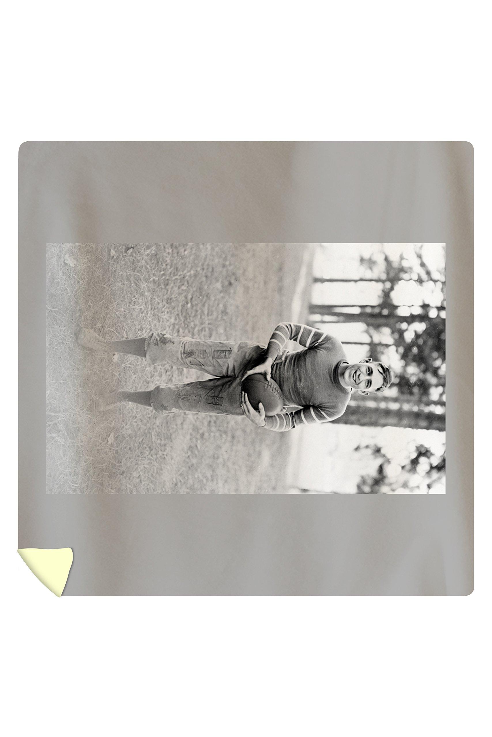 College Football Player in full gear Photograph (88x88 Queen Microfiber Duvet Cover)