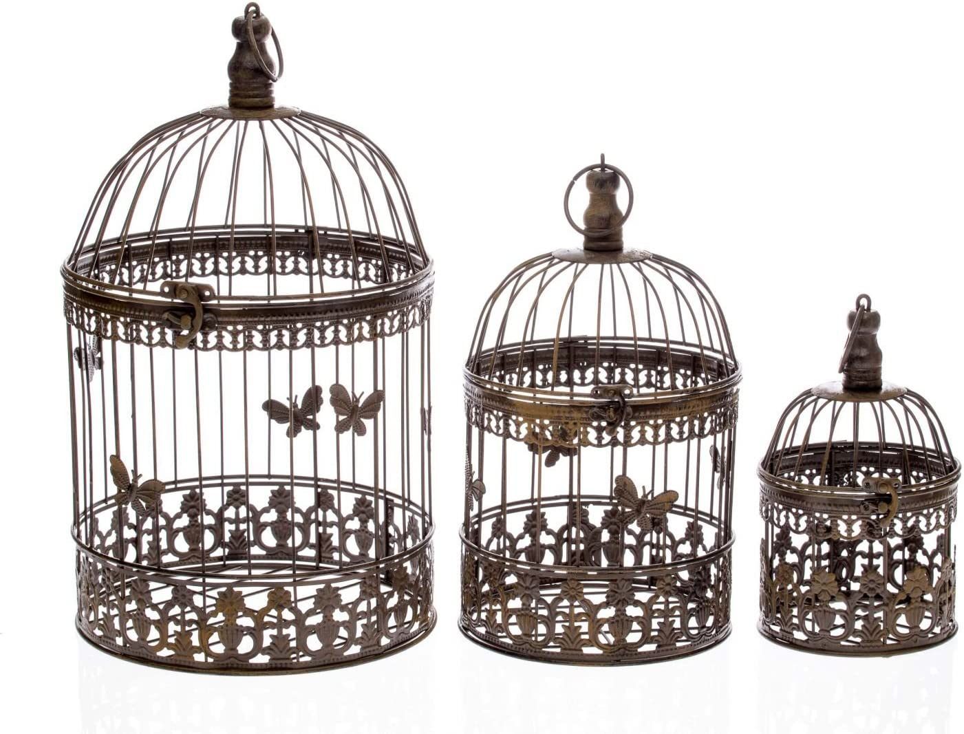 aubaho Decorative bird cage wrought iron brown set of 3 vintage style