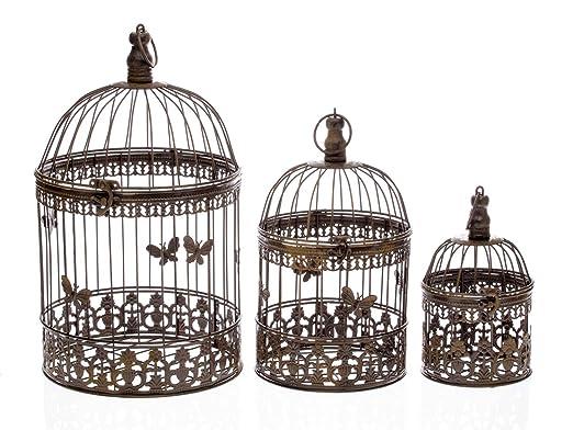 3 Deco pájaro Jaula jaulas de Aves de Estilo Antiguo de Metal ...