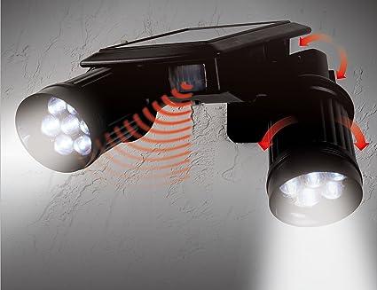 Solar Twin Spot Security Sensor Light With PIR Sensor and 14 Super BRIGHT  SPOTLIGHT LEDu0027s