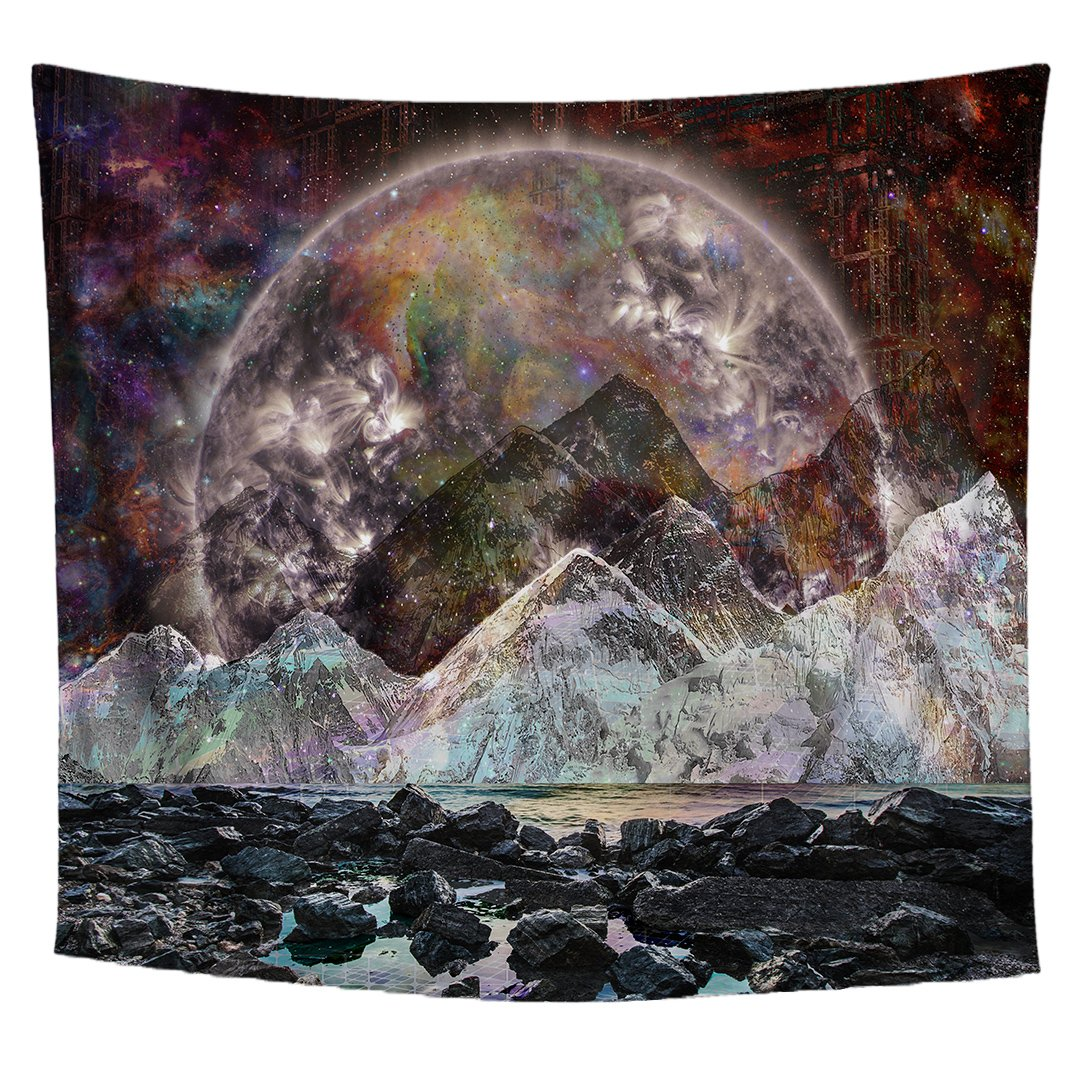 Lucid Eye Studios Galaxy Moon Tapestry- Cosmic View Design Wall Hanging- Outer Space Wall Tapestry- Mountain Wall Decor- 51 x 58 Inches- Premium Home Decor