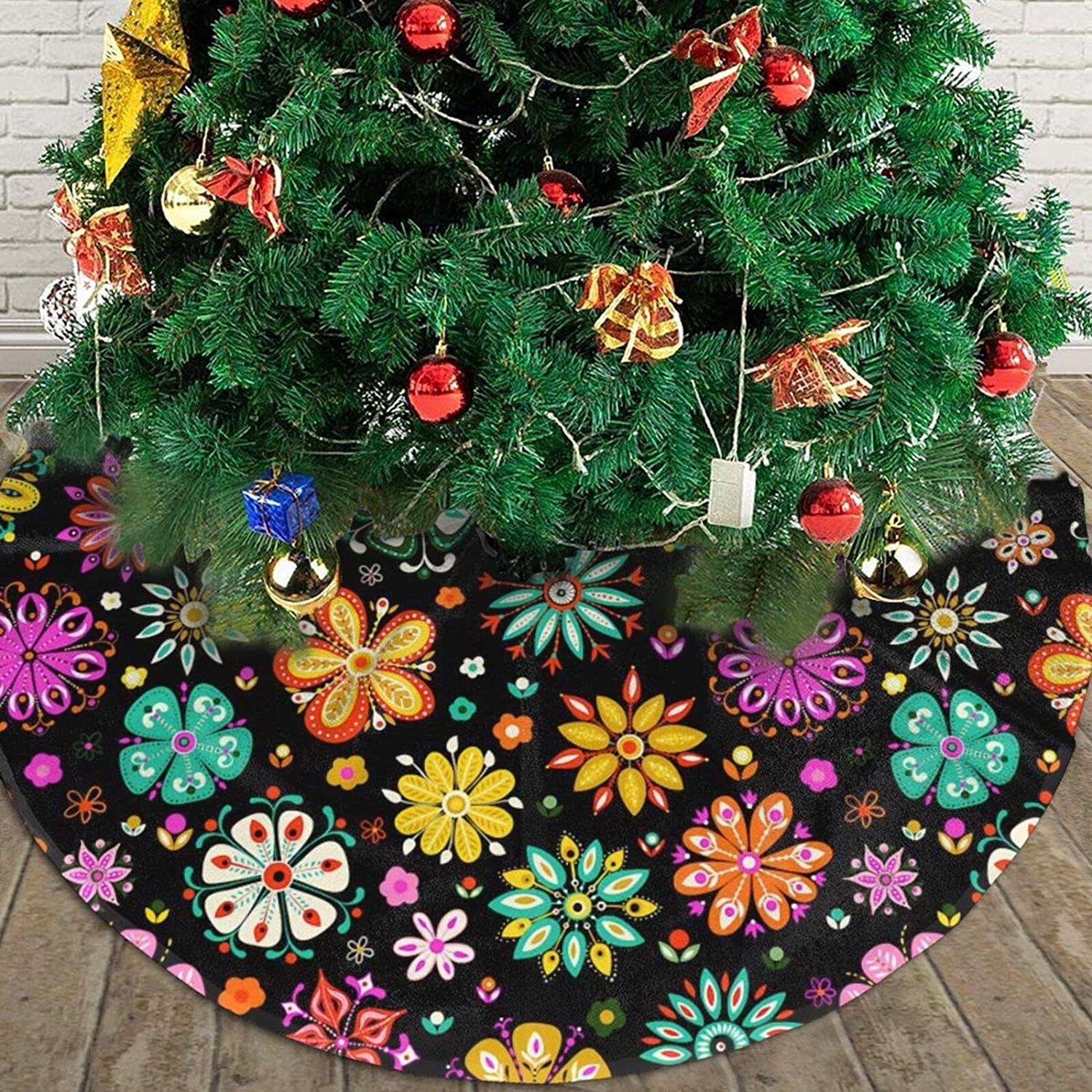 JooKrrix Soft Merry Christmas Tree Skirt, Good to Touch Xmas Tree Ornament, Colorful Flora Flowers Patterns, Table Top Tree Mat Cover for New Year Festive Holiday,Christmas Holiday D¨¦cor,48inch