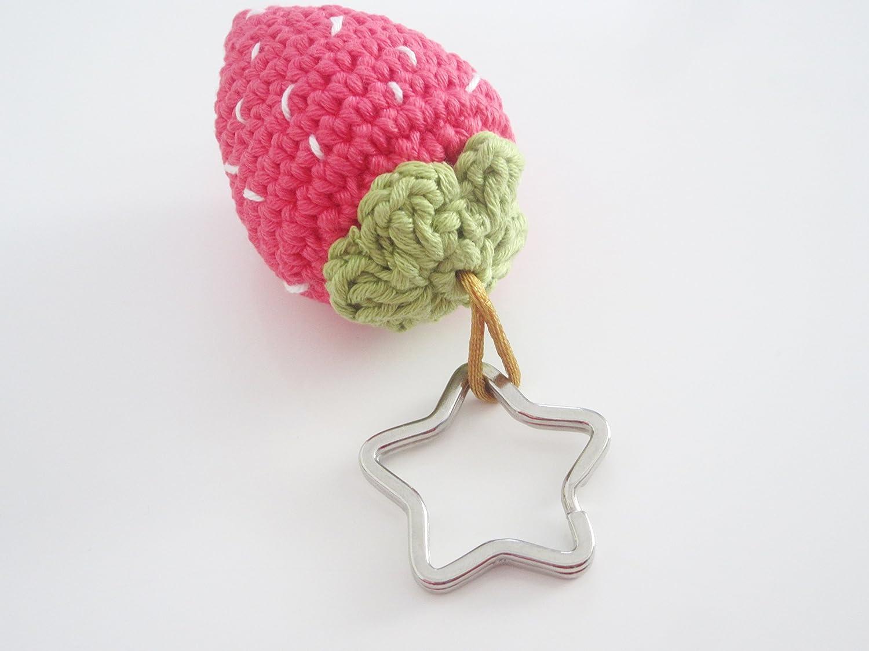 Porte-cl/és fraise au crochet bijou sac cadeau femme ou jeune fille id/ée cadeau No/ël pour femme fraise rouge en coton avec porte-cl/és /étoile