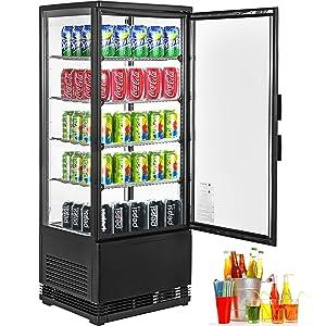VBENLEM 3.5cu.ft. Commercial Countertop Display Refrigerator,98L Beverage Display Cooler,with LED Lighting Black Freestanding Display Fridge,Adjustable Shelves,for Supermarket Bar Office Use,32℉-53.6℉