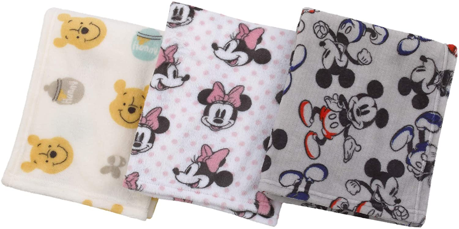 White Disney Minnie Mouse Black Pink Pink White and Black Super Soft Plush Baby Blanket