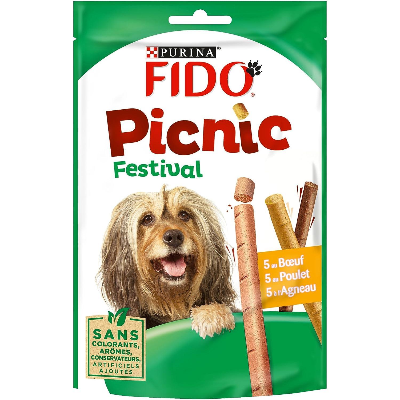 Fido Picnic Festival : au Bœuf, au Poulet, à l'Agneau - 126 g - Friandises pour Chien - Lot de 8 5103751