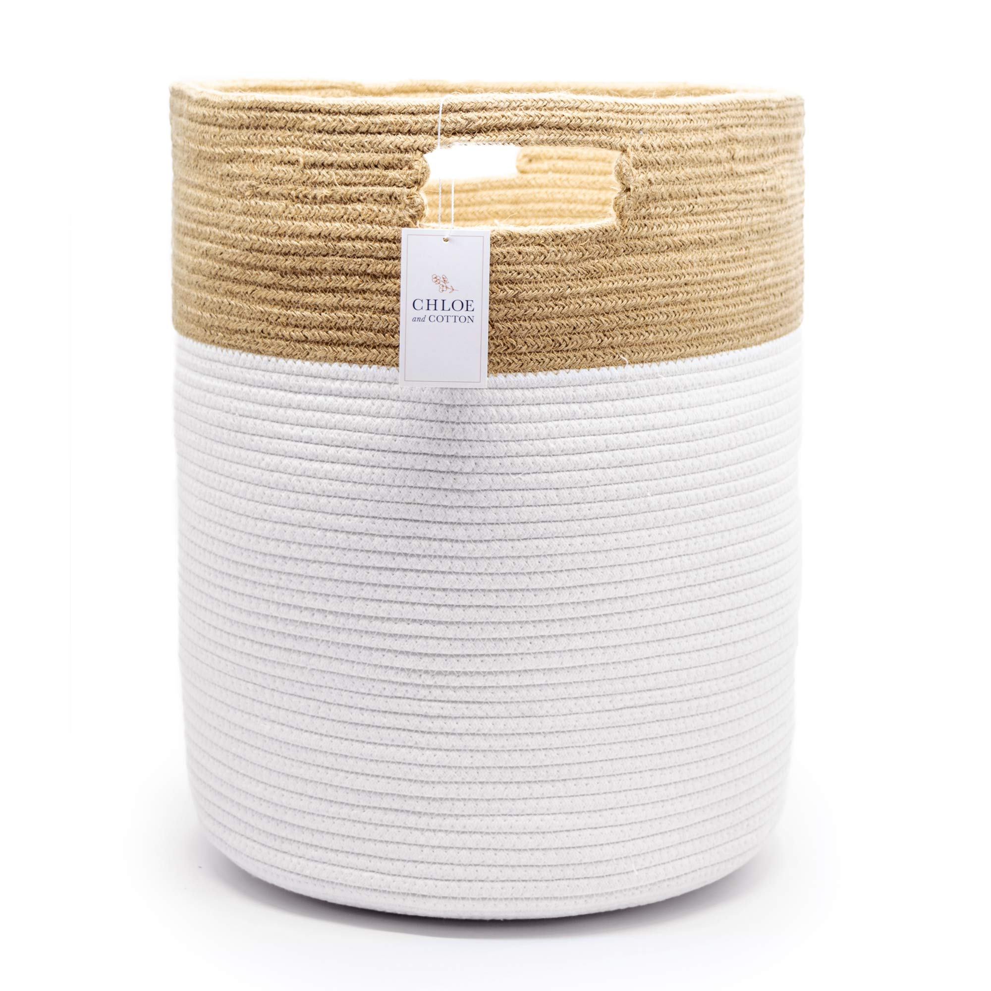 Chloe and Cotton Extra Large Tall Woven Rope Storage Basket 19 x 16 inch Jute White Handles | Decorative Laundry Clothes Hamper, Blanket, Towel, Baby Nursery Diaper, Toy Bin Cute Collapsible Organizer by Chloe and Cotton