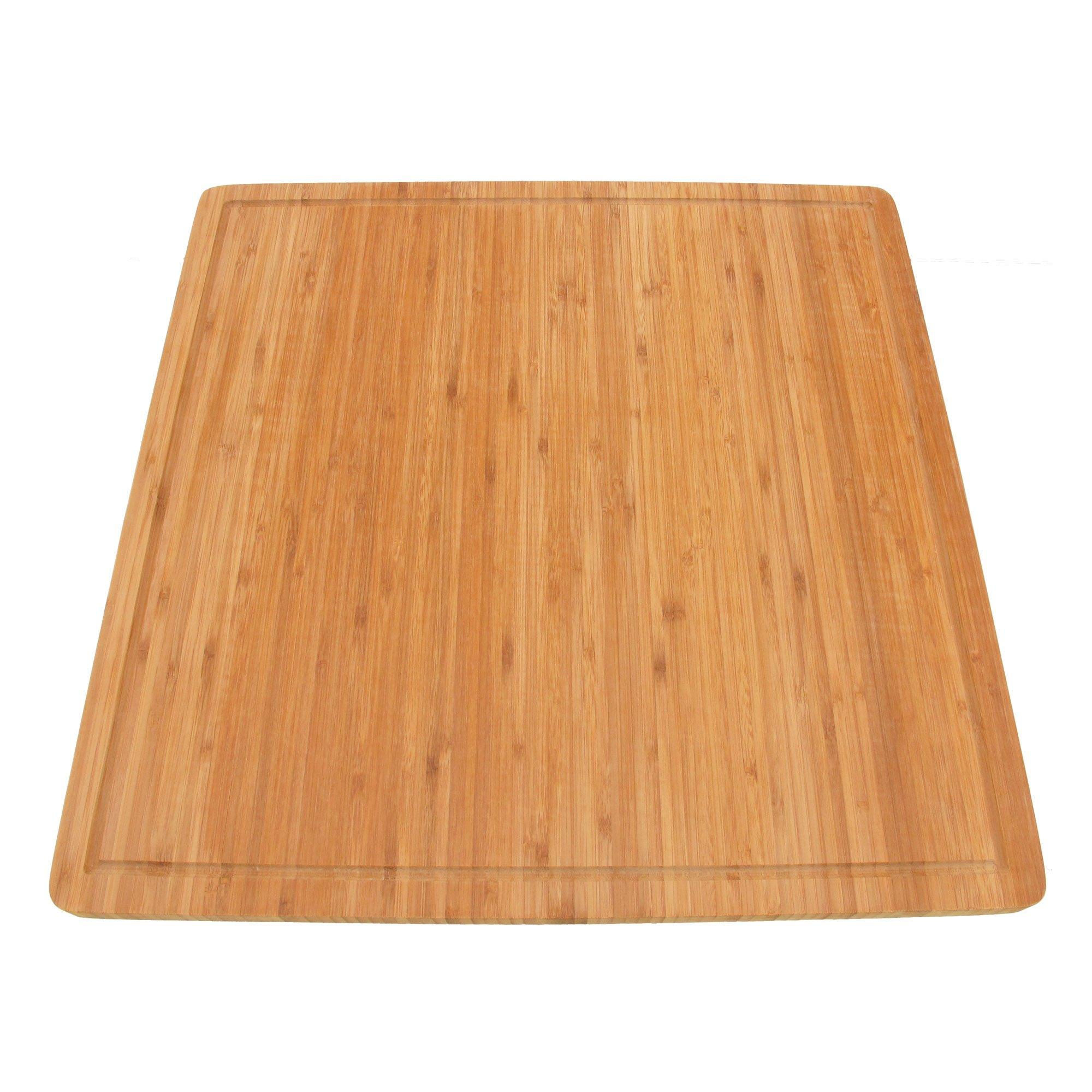 BambooMN Brand - Bamboo Burner Cover Cutting Board, New Vertical Cut, Large, Square (19.8''x19.8''x0.75'')