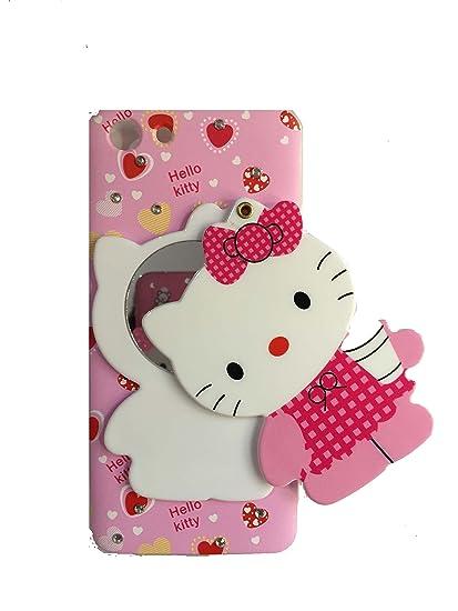 Addindia Hidden Mirror Kitten Doll with Diamonds Stone Back Cover for Oppo  A83 (Multiple Design)