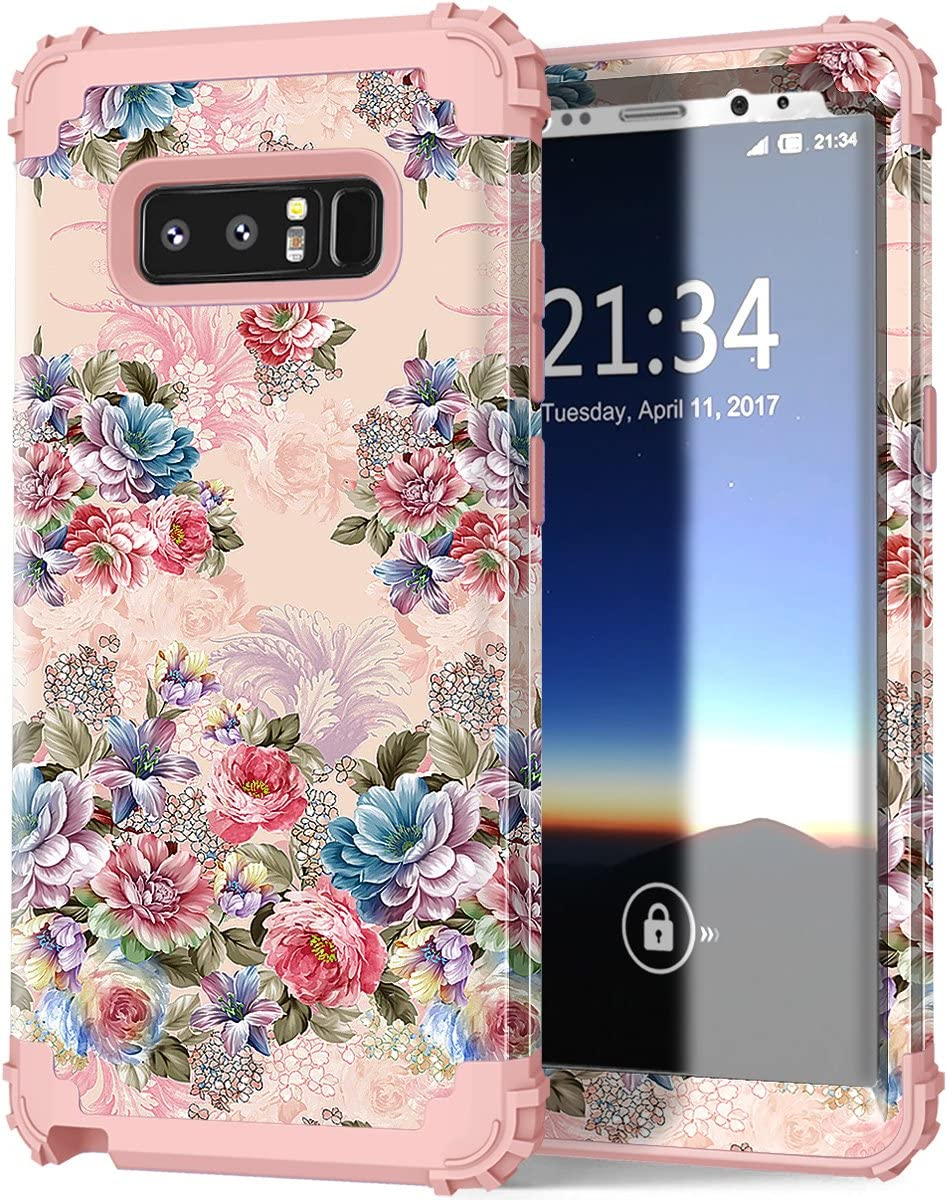 Hocase Galaxy Note 8 Case, Heavy Duty Shockproof Hard Plastic+Silicone Rubber Bumper Dual Layer Protective Case for Samsung Galaxy Note 8 (SM-N950) 2017 - Rose Gold Pink