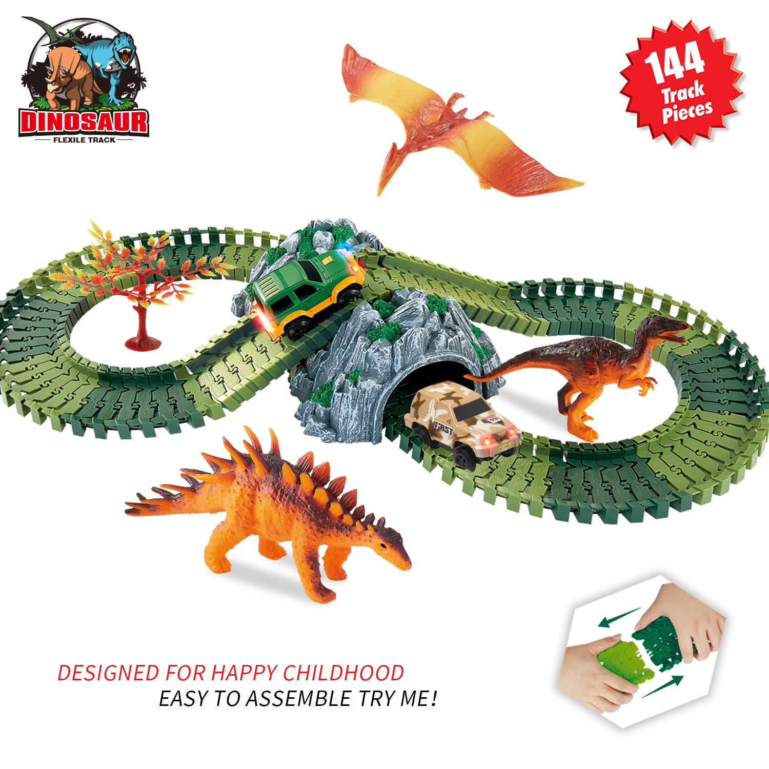 HOMOFY Dinosaur Toys Race Car Track Sets Jurassic World with 144 Pcs Flexible Tracks, 3 Dinosaurs,2 Led Cars,1 Tree and 2 In 1 Tunnel for 1 2 3 4 Year Old Girls and Boys Best Gift