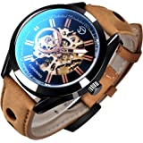GLEIM Mens Skeleton Automatic Mechanical Wrist Watch Analog Casual Brown Leather Clock