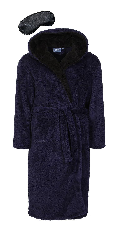 Harvey James Men's Hooded Soft Fleece Robe Dressing Gown with Eye Mask MN000126