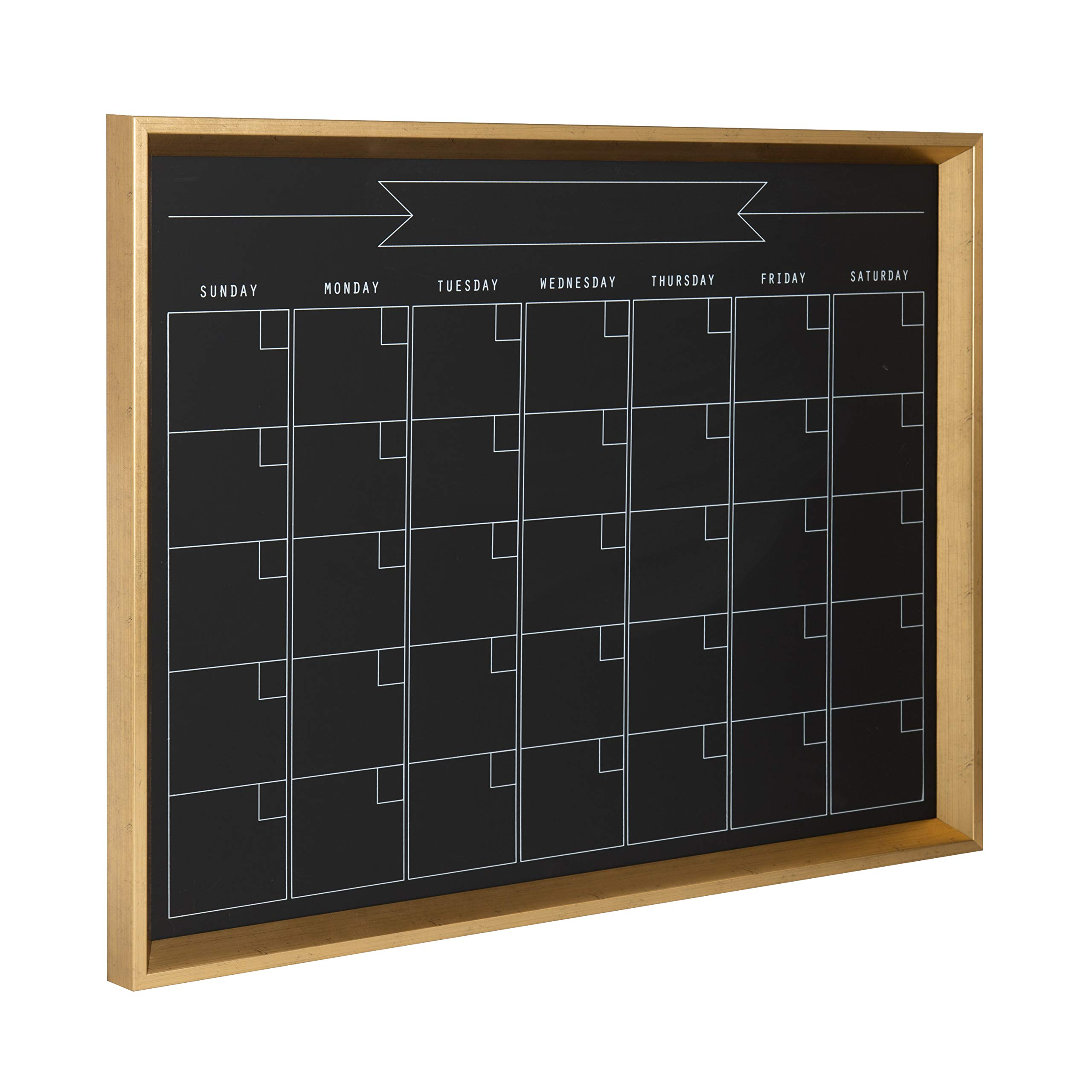 Kate and Laurel Calder Framed Magnetic Chalkboard Monthly Calendar 21.5'' x 27.5'' Gold by Kate and Laurel