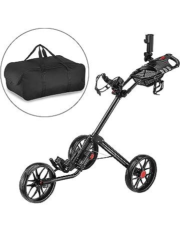 CaddyTek Super Deluxe Quad Fold - Carrito de golf con bolsa de almacenamiento, color negro
