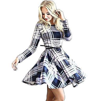 CRAVOG Damen Abendkleider Kleider Partykleid Minikleid Rockabilly ...