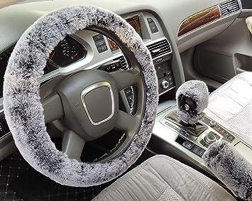 acdiac 3pcs Set Winter Warm Furry Steering Wheel Cover/&Handbrake Cover/&Gear Shift Cover Set Faux Wool Uinversal Plush Non-Slip Car Interior Accessories-14.96 38cm White