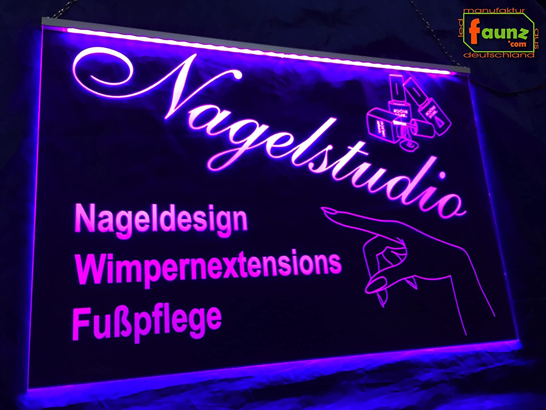 LED Cartel uñas Studio con servicios Rosa Opaco sobre ...