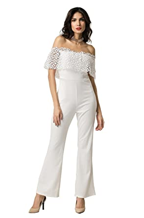 542f99d258c6 Amazon.com  Clarisbelle Women Casual Sexy Off Shoulder High Waist Long Pant  Wide Leg Ruffle Party Lace Jumpsuits Rompers  Clothing