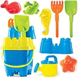 Prextex 10 Piece Beach Toys Sand Toys Set, Bucket with Sifter, Shovel, Rake, Watering Can, Animal and Castle Sand Molds