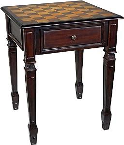 Design Toscano DE302 Walpole Manor Chess Gaming Table, 26 Inch, Walnut