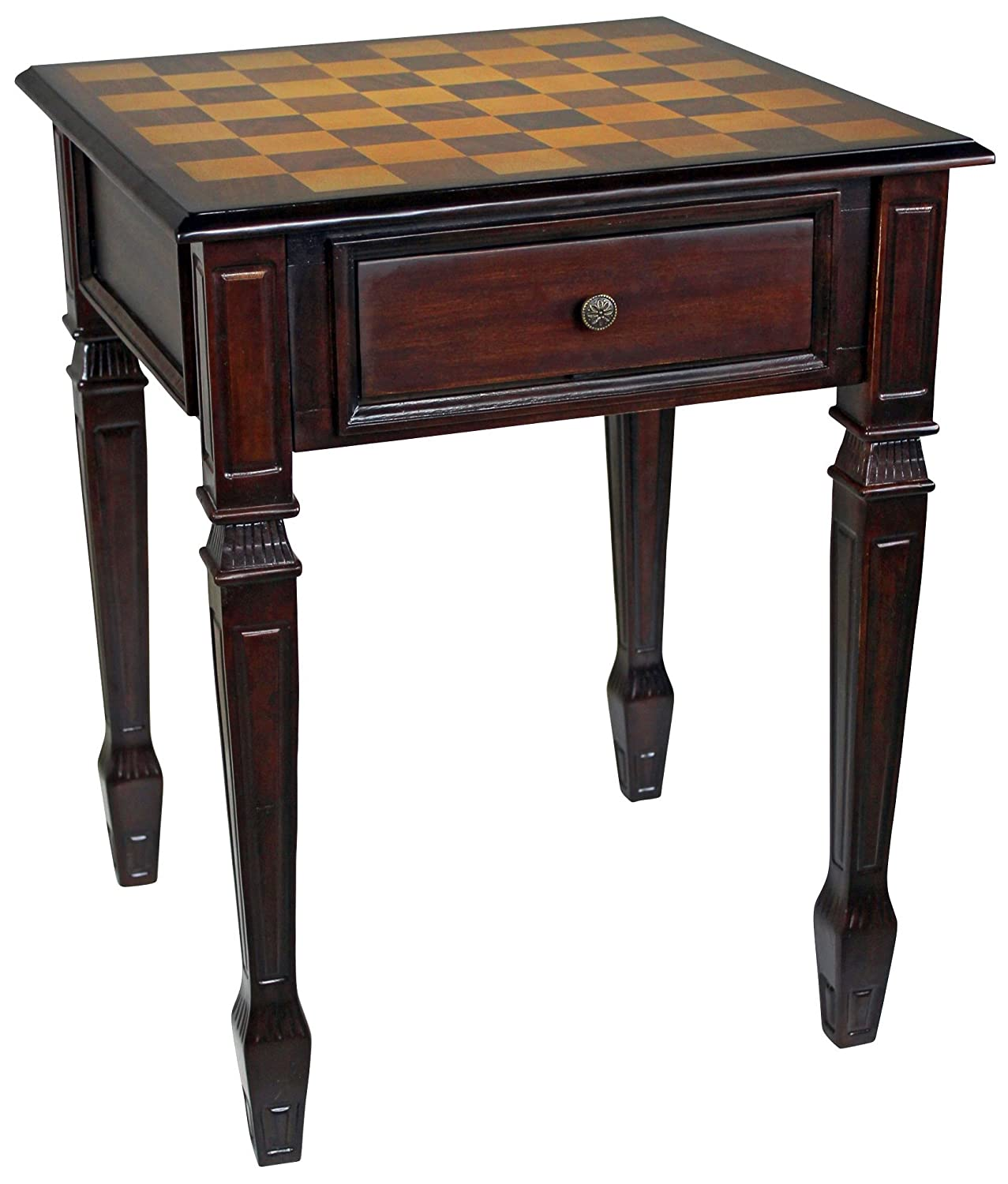 Design Toscano Walpole Manor Chess Gaming Table, 26 Inch, Hardwood, Walnut DE302