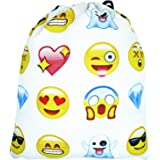 Emojis Drawstring Bags Backpack with Polyester Material Sport String Sling Bag for Kids Teens - White