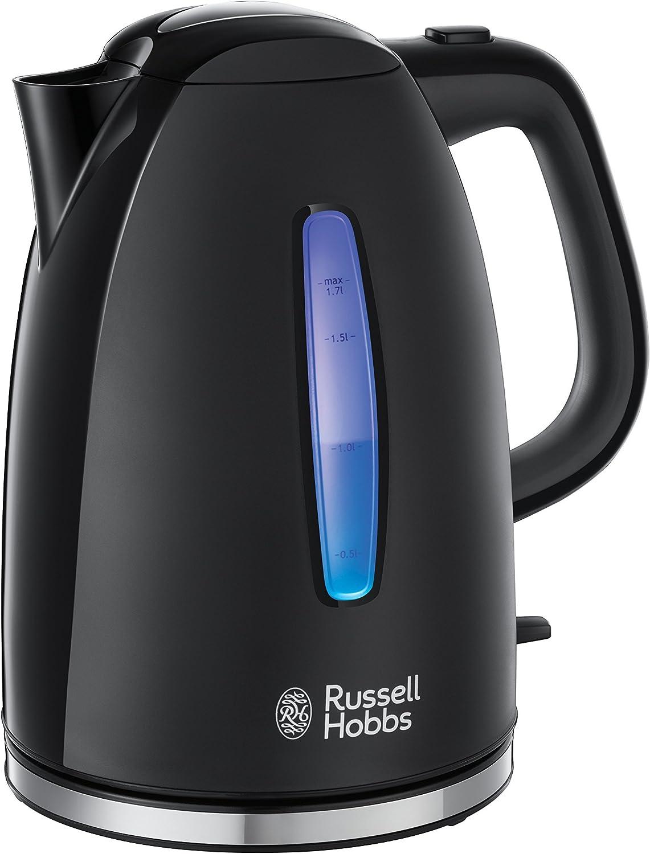 Russell Hobbs Textures - (Hervidor de Agua Eléctrico, 2400 W, 1.7 L, Plástico Alto Brillo, sin BPA, Negro) ref. 22591-70