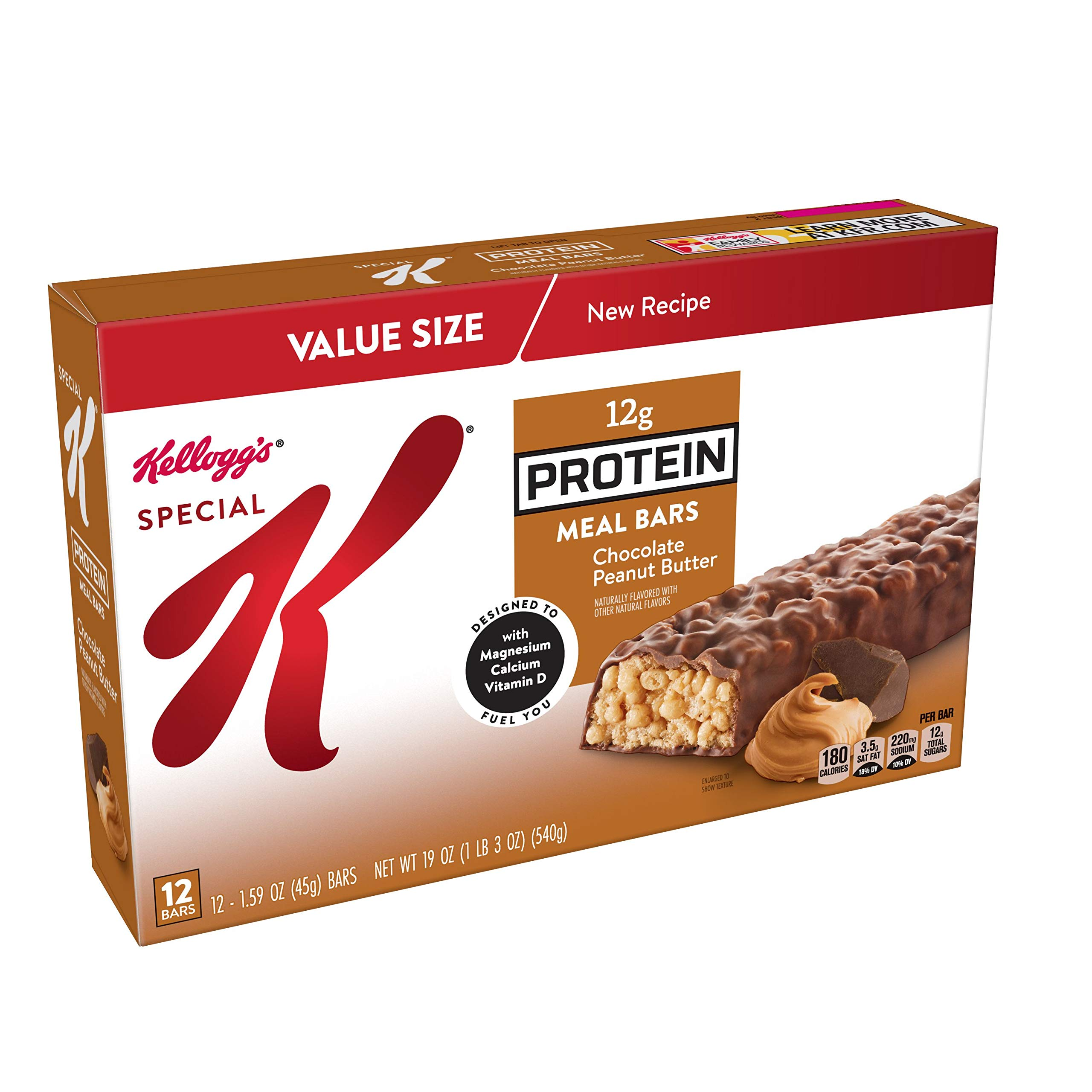 Special K Protein Meal Bars, Chocolate Peanut Butter, 19 oz (12 Count) by Special K