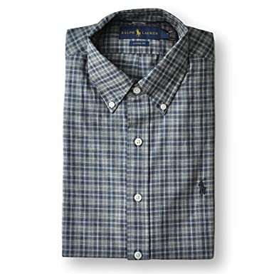 5af0a99f Image Unavailable. Image not available for. Color: Polo Ralph Lauren Men Classic  Fit Twill Plaid Shirt Grey