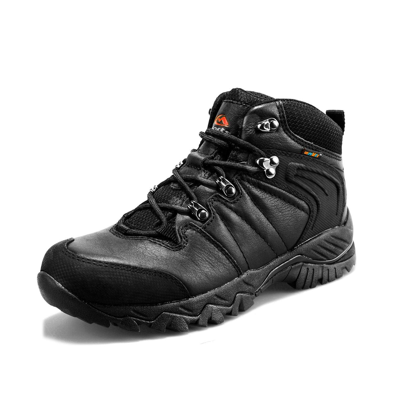 Clorts Women's Mid Hiking Boot Hiker Leather Waterproof Lightweight Outdoor Backpacking Trekking Shoe Black HKM-822D US5.5