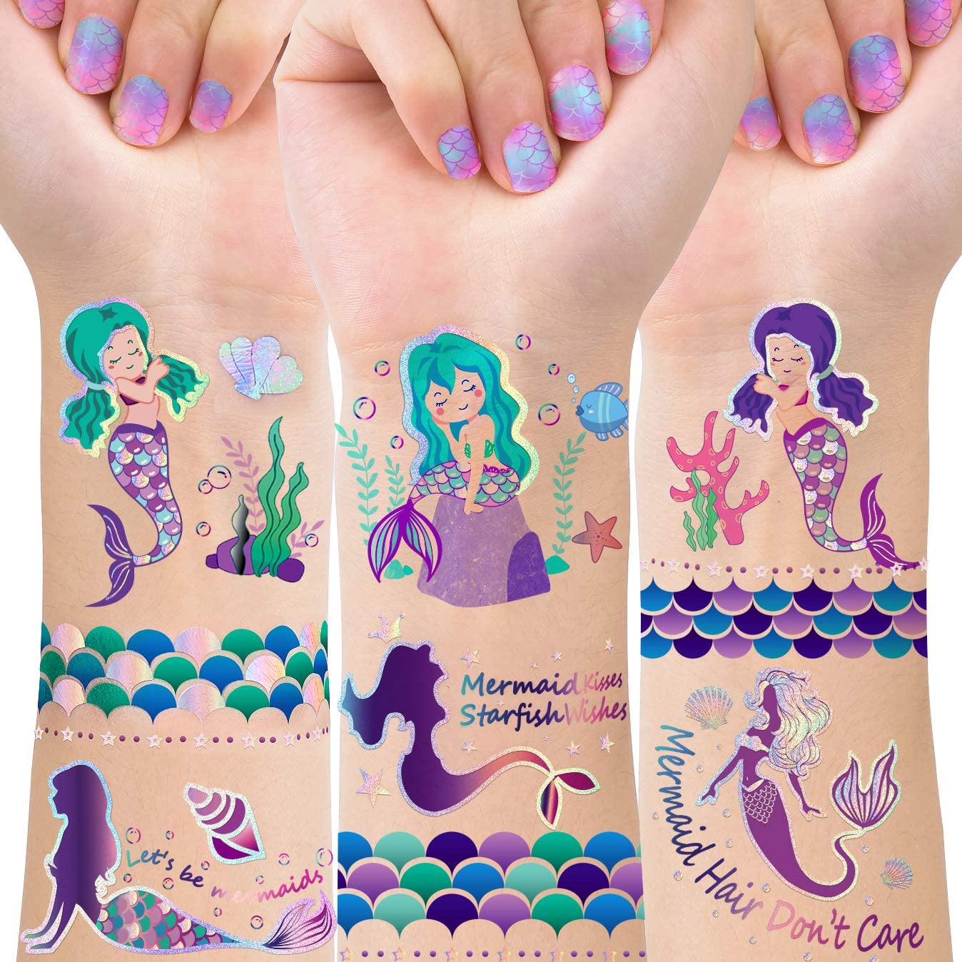 TMCCE Mermaid Party Supplies Mermaid Tattoos For Kids-Mermaid Birthday Party Favors-4 Sheet Glitter More Than 32 Styles Mermaid Tail Tattoos Party Decoration