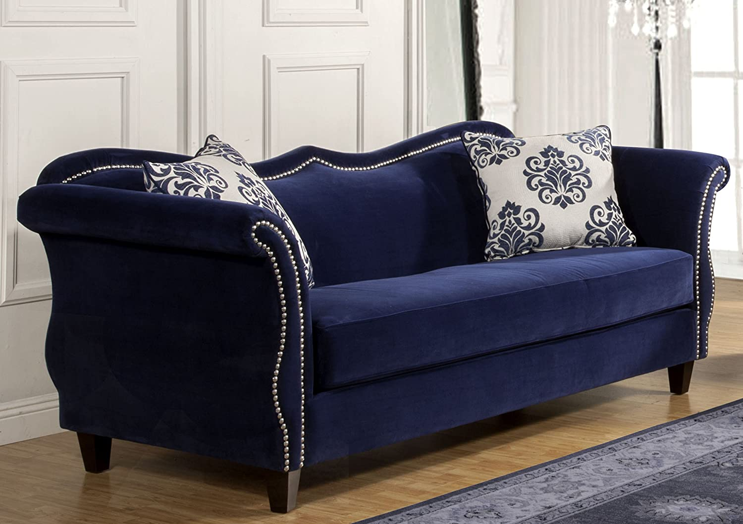 Amazon.com: Furniture Of America Athena Glamorous Sofa, Royal Blue: Kitchen  U0026 Dining Part 28