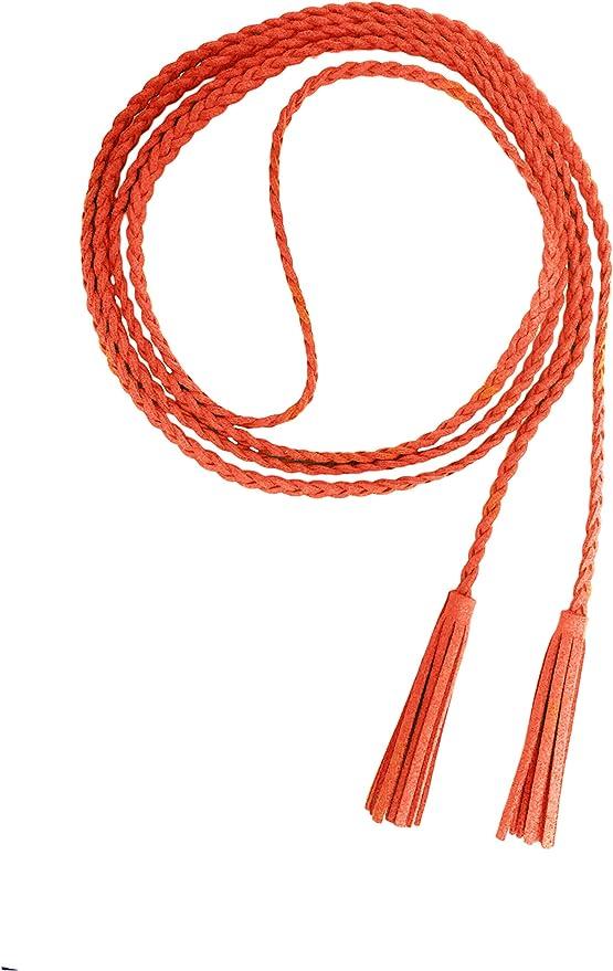 Nanxson Mujer Chicas Delgado Cintura Cuero Cadena Cuerda Cinturón Borlas PDW0042