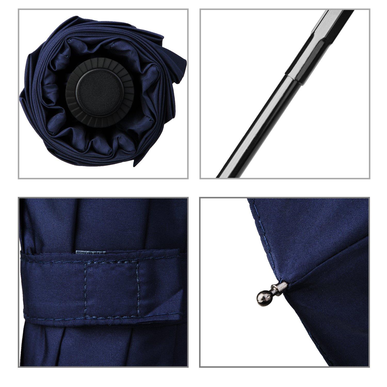 Travel Umbrella,Auto Open & Close, Travel 10 Ribs Folding Golf SizeUmbrella (blue) by Jemess (Image #4)