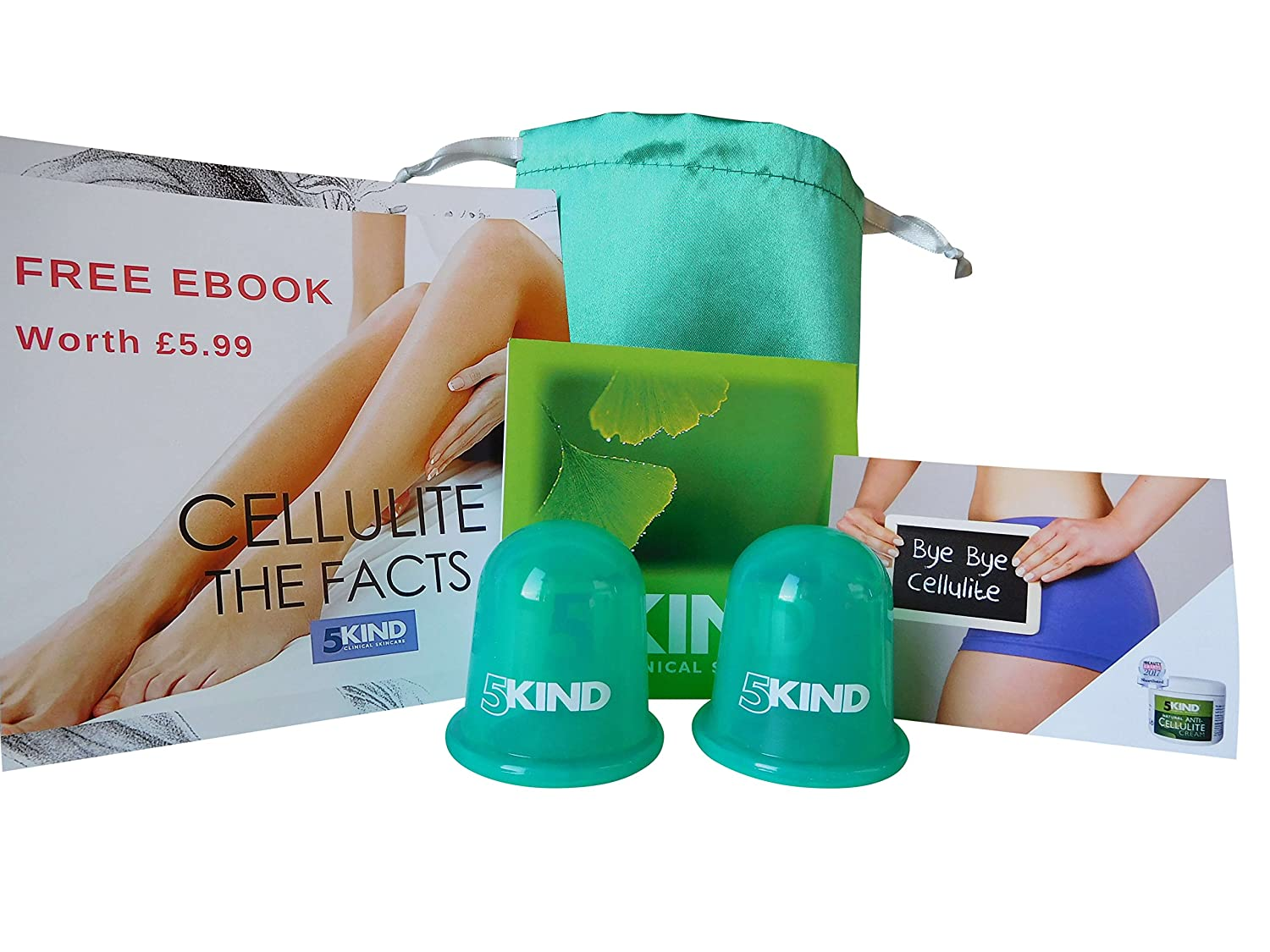 Anti Cellulite Cups Vacuum Silicone Cups Cupping Set by 5kind-Full Instructions, Free Satin Bag, Free Cellulite Ebook worth £5.99 and Discount Voucher for 5kind Professional Cellulite Cream 5kind clinical skincare