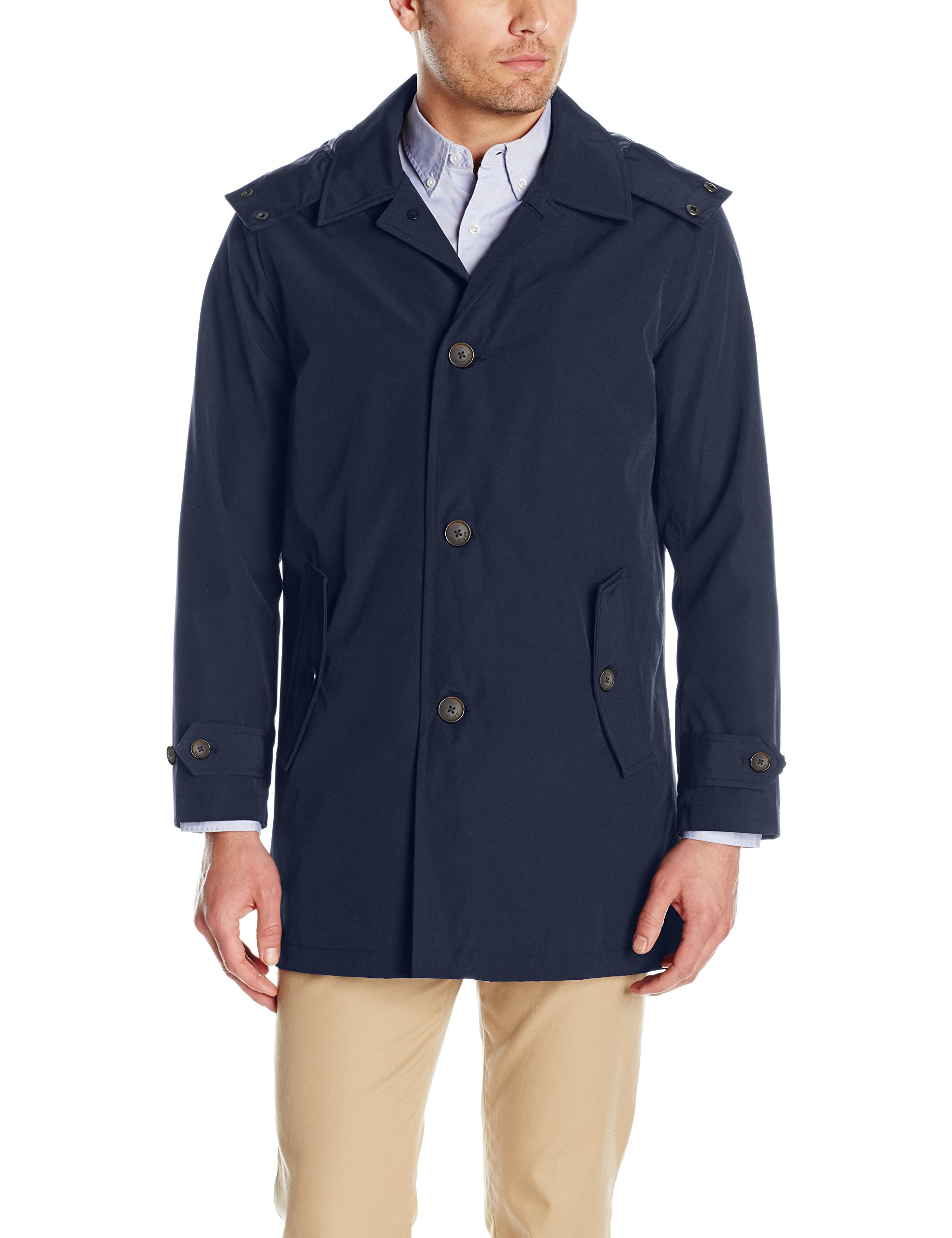 Tommy Hilfiger Men's Hooded Rain Trench Jacket, Navy, S by Tommy Hilfiger