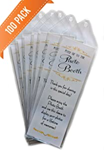 100 Premium Vinyl Photo Booth Bookmark Sleeves 2 1/4 X 6 1/4 for Wedding
