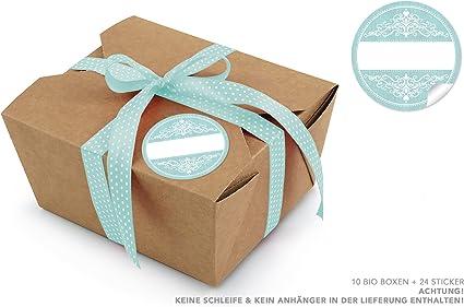 10 cajas de cartón marrón orgánicas + 24 pegatinas de Freitexfell Mint Vintage • cajas de cartón kraft Take Away ...