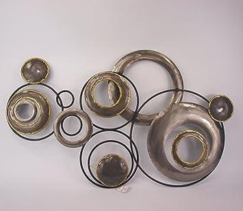 Wanddeko Kreise Industrie Design Wandbild Aus Metall In Silber Und Grau Mit Goldenen Elementen Veredelt 80 X 48 Cm