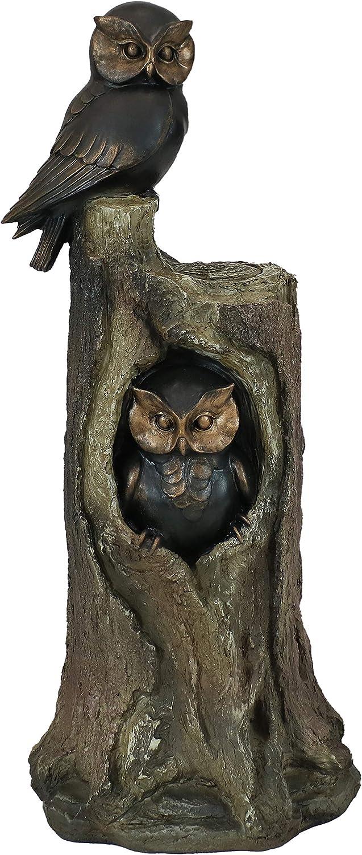 Sunnydaze Owl Duo on Tree Stump Polyresin Outdoor Garden Statue - Bird Couple Figurine - Small Patio, Lawn and Garden Decoration Accent Piece - 31-Inch