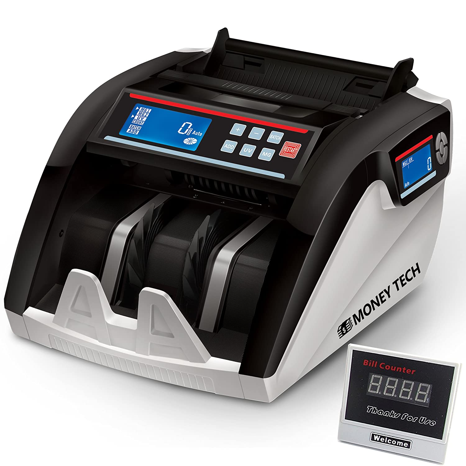Money Tech Polymer & Paper Multi-Currency Bill Cash Counter. Canadian Plastic & USD Banknote Counting Machine with Counterfeit Detection and LCD Screens. Contemporary Tech