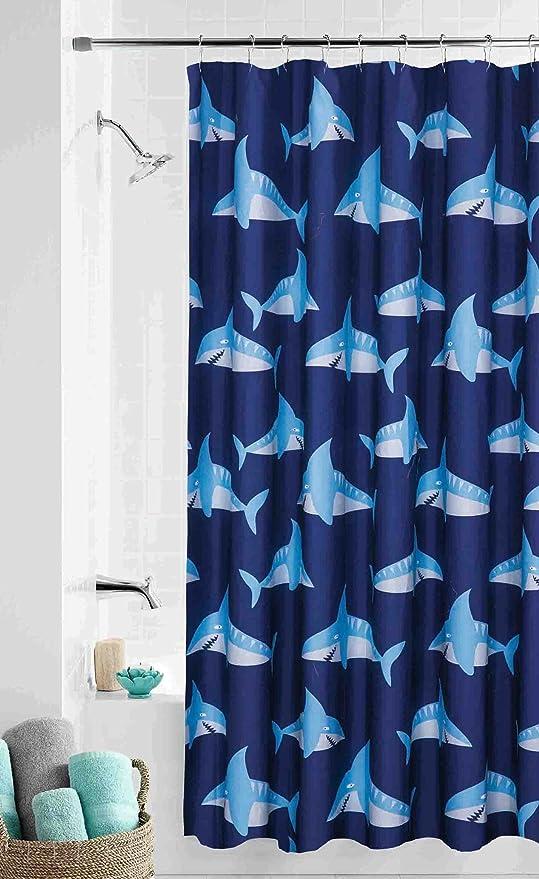 Sharks Ocean Fish Fabric Shower Curtain Bath Kids Child Decor